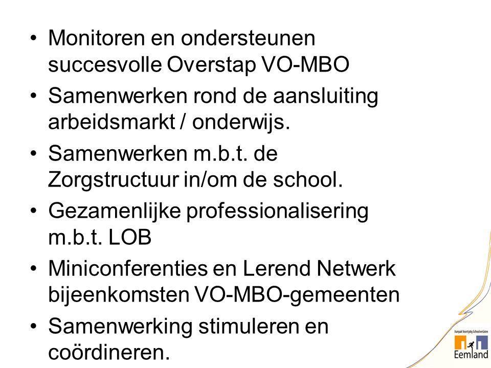 Monitoren en ondersteunen succesvolle Overstap VO-MBO Samenwerken rond de aansluiting arbeidsmarkt / onderwijs. Samenwerken m.b.t. de Zorgstructuur in