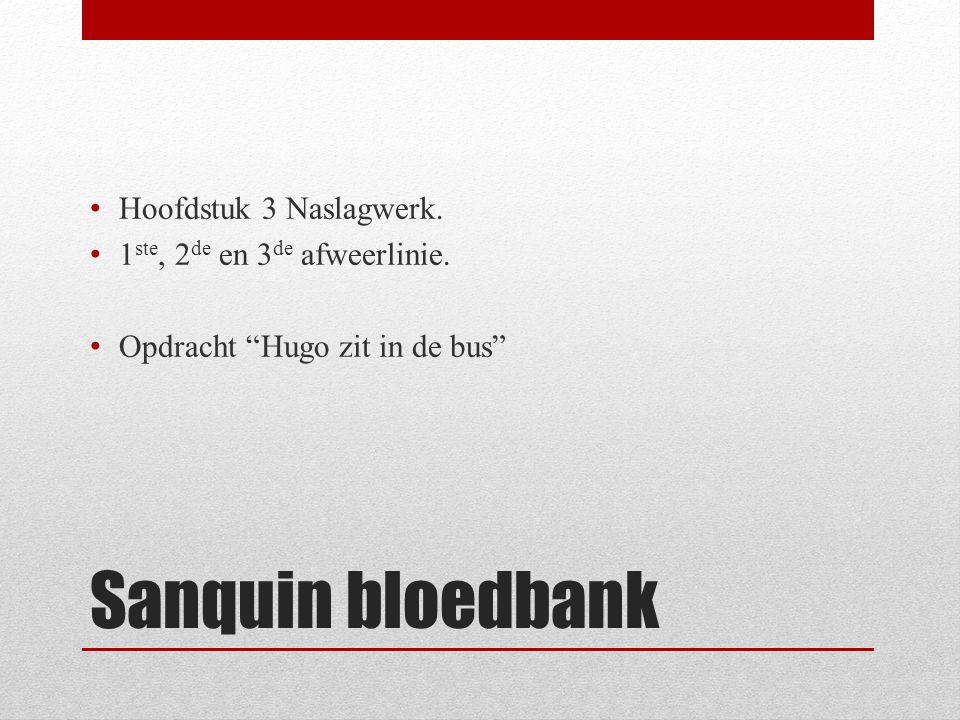 """Sanquin bloedbank Hoofdstuk 3 Naslagwerk. 1 ste, 2 de en 3 de afweerlinie. Opdracht """"Hugo zit in de bus"""""""