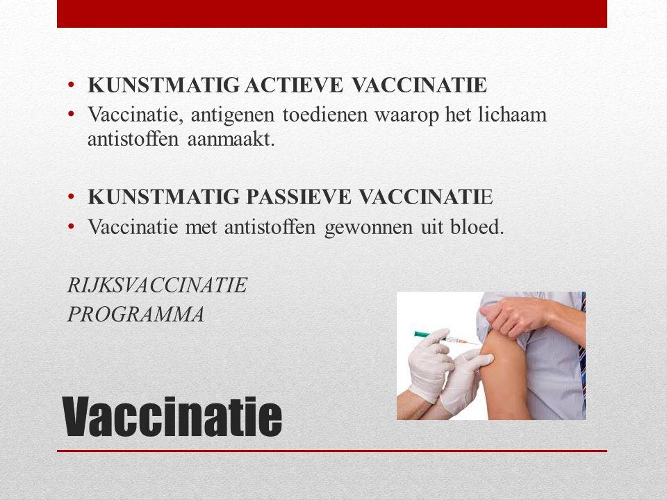 Vaccinatie KUNSTMATIG ACTIEVE VACCINATIE Vaccinatie, antigenen toedienen waarop het lichaam antistoffen aanmaakt. KUNSTMATIG PASSIEVE VACCINATIE Vacci