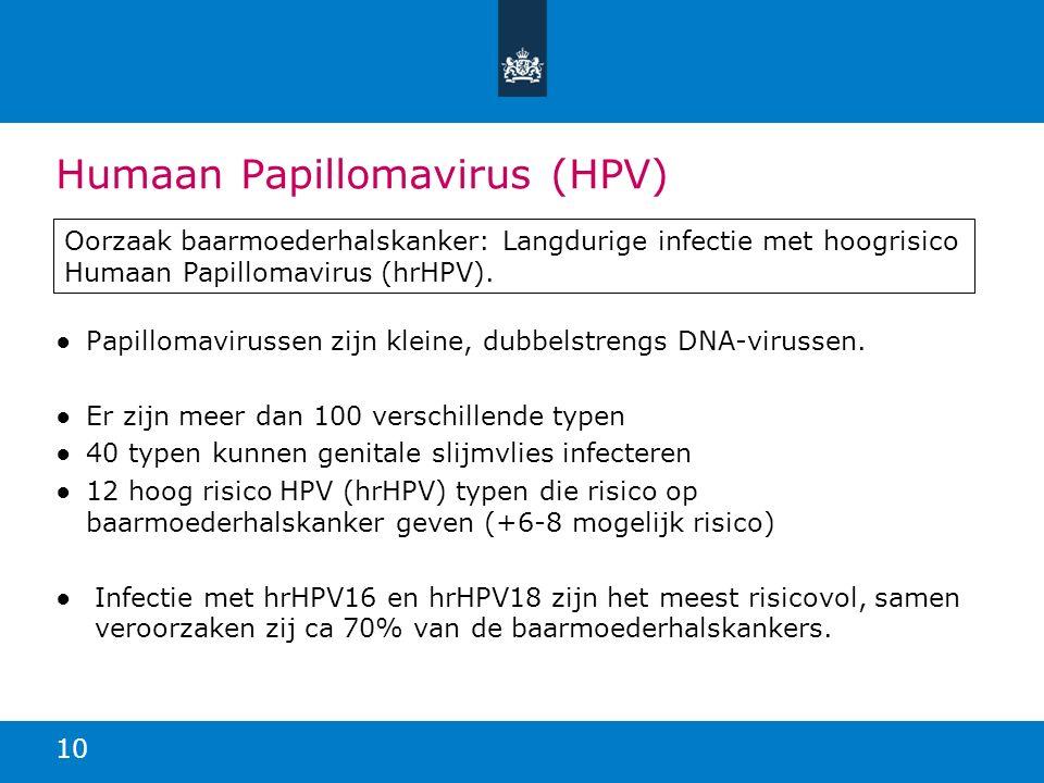 Humaan Papillomavirus (HPV) ●Papillomavirussen zijn kleine, dubbelstrengs DNA-virussen. ●Er zijn meer dan 100 verschillende typen ●40 typen kunnen gen
