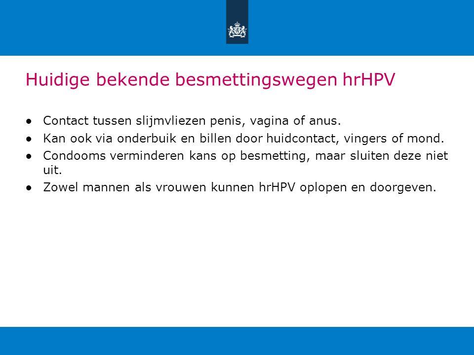 Huidige bekende besmettingswegen hrHPV ●Contact tussen slijmvliezen penis, vagina of anus. ●Kan ook via onderbuik en billen door huidcontact, vingers
