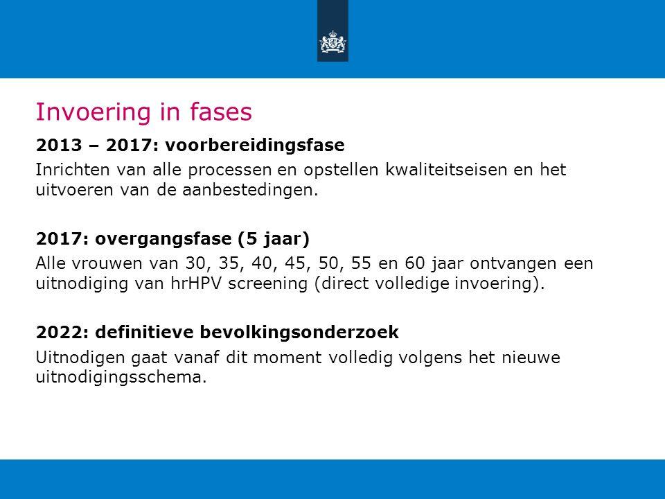 Invoering in fases 2013 – 2017: voorbereidingsfase Inrichten van alle processen en opstellen kwaliteitseisen en het uitvoeren van de aanbestedingen. 2
