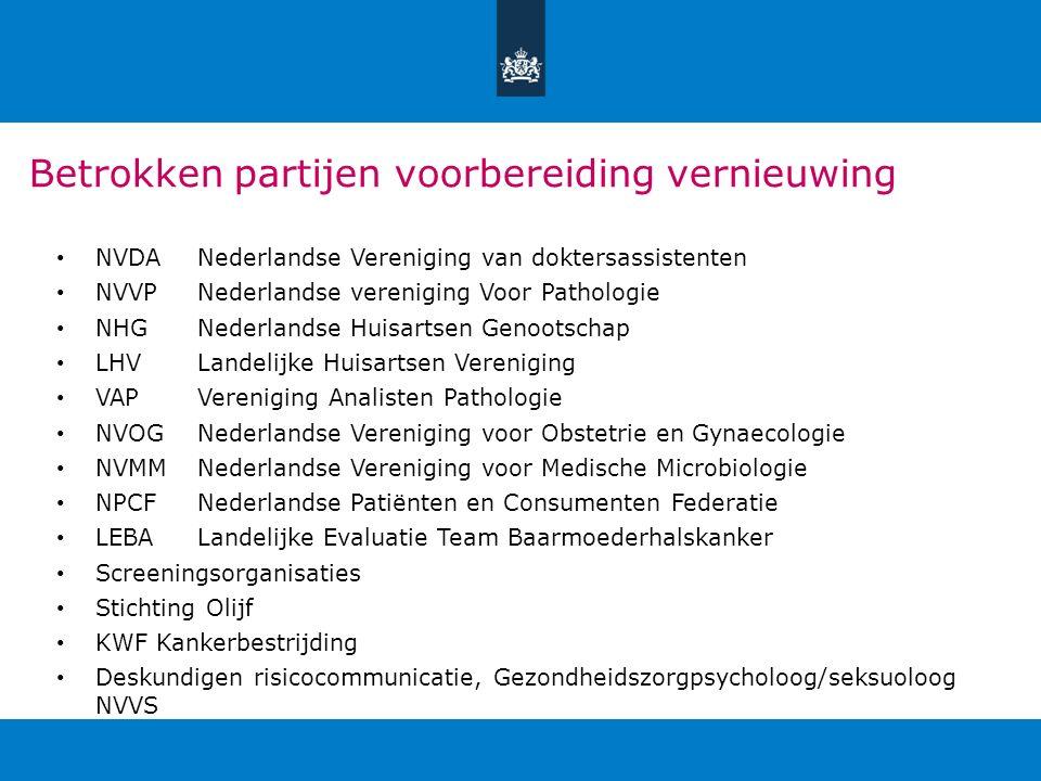 Betrokken partijen voorbereiding vernieuwing NVDANederlandse Vereniging van doktersassistenten NVVPNederlandse vereniging Voor Pathologie NHGNederland