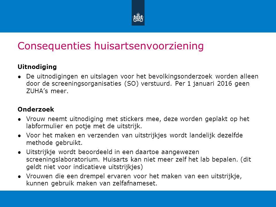 Consequenties huisartsenvoorziening Uitnodiging ●De uitnodigingen en uitslagen voor het bevolkingsonderzoek worden alleen door de screeningsorganisati