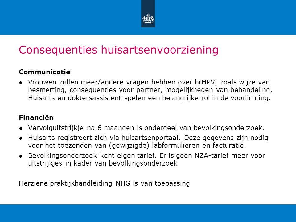 Consequenties huisartsenvoorziening Communicatie ●Vrouwen zullen meer/andere vragen hebben over hrHPV, zoals wijze van besmetting, consequenties voor