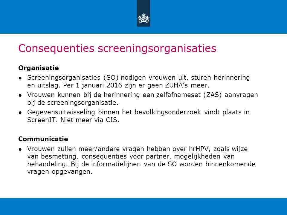 Consequenties screeningsorganisaties Organisatie ●Screeningsorganisaties (SO) nodigen vrouwen uit, sturen herinnering en uitslag. Per 1 januari 2016 z