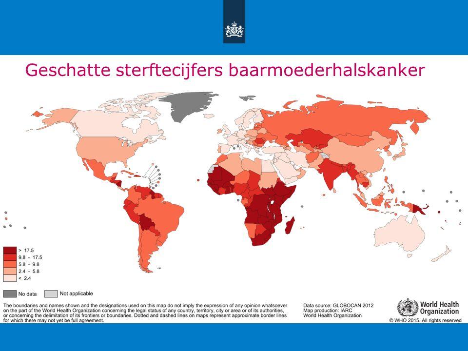 Incidentie baarmoederhalskanker/ prevalentie hrHPV Leeftijd (jaren)Aantal vrouwenhrHPV-positief: n (%) 18-24 482102 (21,2) 25-3410.8281.161 (10,7) 35-4415.303753 (4,9) 45-5411.556321 (2,8) 55-657.193184 (2,6) Tabel 2 Prevalentie van hrHPV-infecties in Nederland, bepaald met een klinisch gevalideerde test (GP5+/6+-PCR).