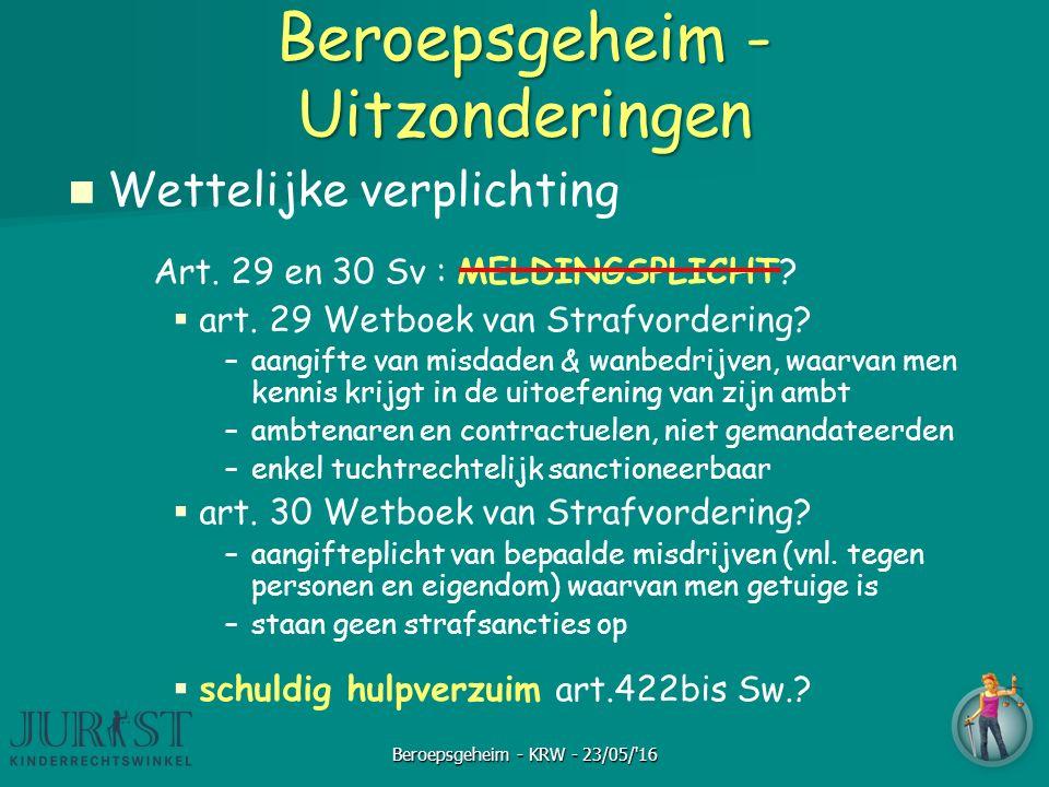 Beroepsgeheim - Uitzonderingen Wettelijke verplichting Art. 29 en 30 Sv : MELDINGSPLICHT?   art. 29 Wetboek van Strafvordering? – –aangifte van misd