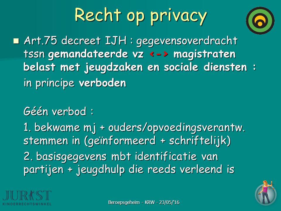 Recht op privacy Art.75 decreet IJH : gegevensoverdracht tssn gemandateerde vz magistraten belast met jeugdzaken en sociale diensten : Art.75 decreet