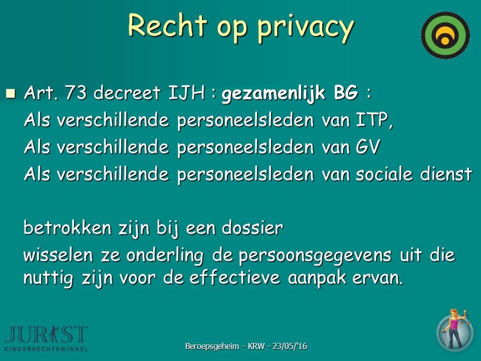Recht op privacy Art. 73 decreet IJH : gezamenlijk BG : Art. 73 decreet IJH : gezamenlijk BG : Als verschillende personeelsleden van ITP, Als verschil