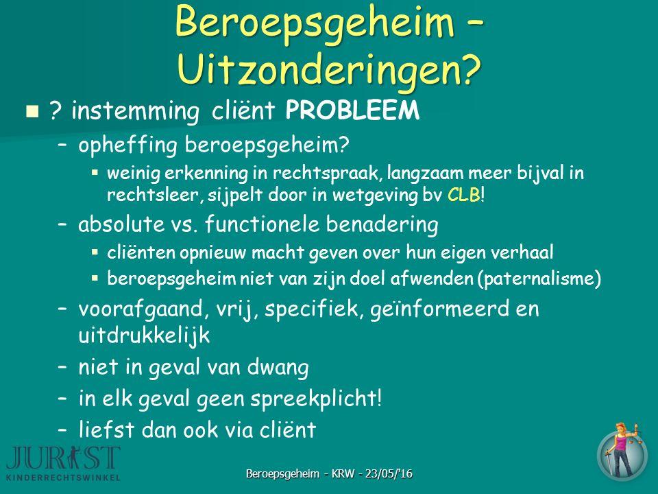 Beroepsgeheim – Uitzonderingen. instemming cliënt PROBLEEM – –opheffing beroepsgeheim.