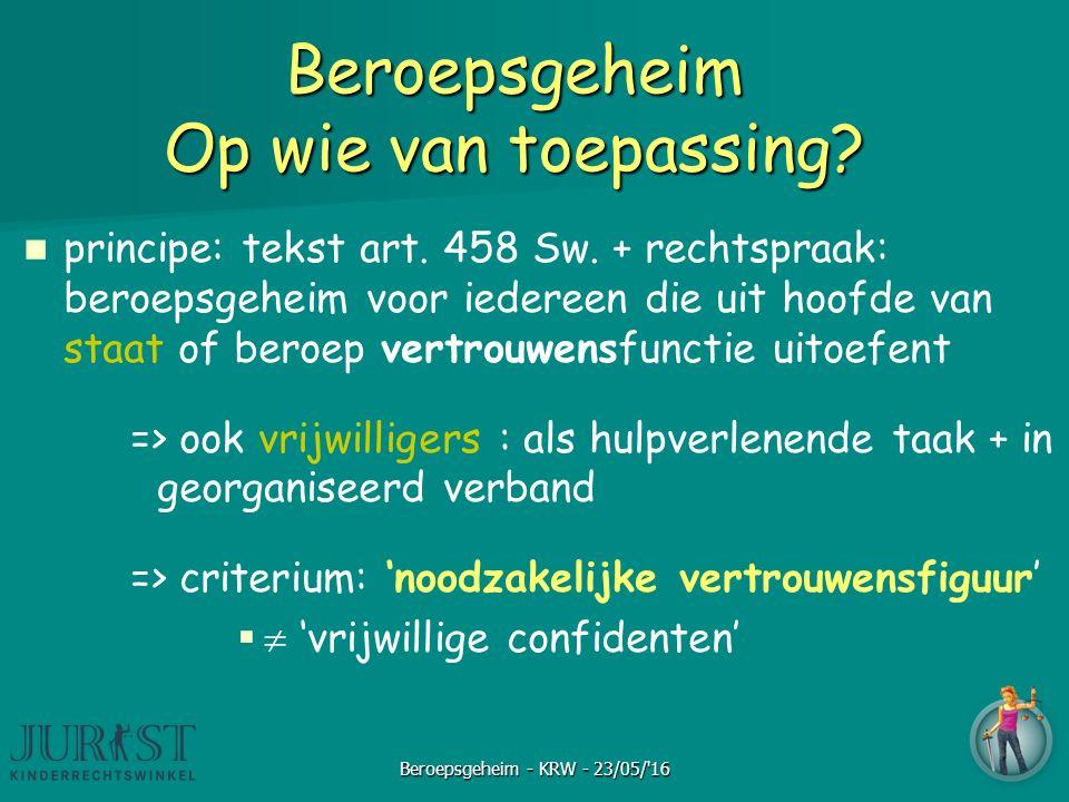 Beroepsgeheim Op wie van toepassing? principe: tekst art. 458 Sw. + rechtspraak: beroepsgeheim voor iedereen die uit hoofde van staat of beroep vertro