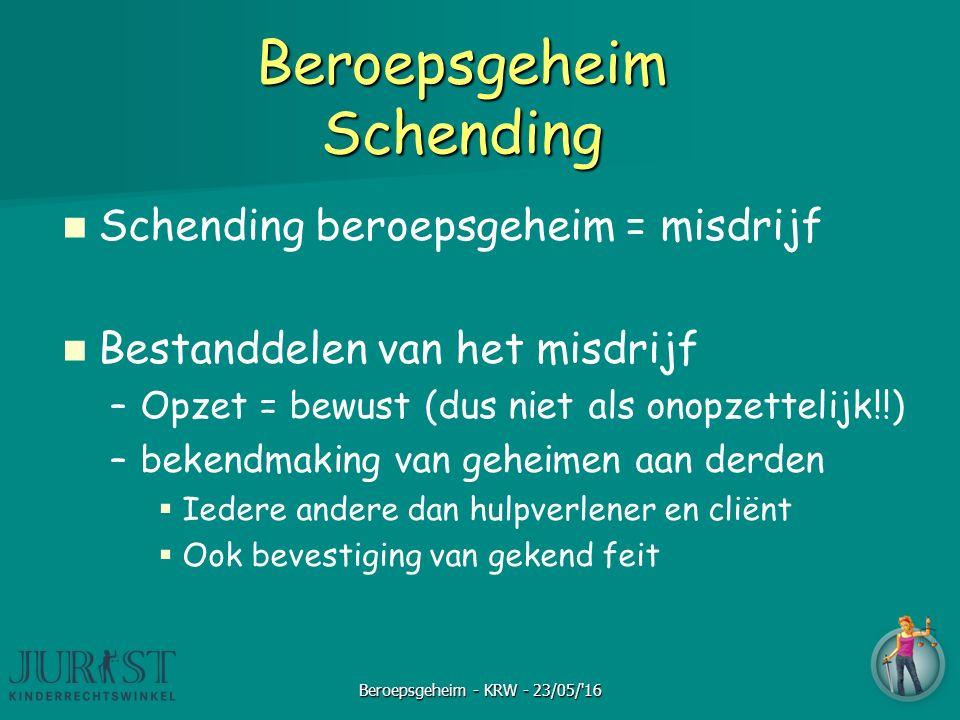 Beroepsgeheim Schending Schending beroepsgeheim = misdrijf Bestanddelen van het misdrijf –Opzet = bewust (dus niet als onopzettelijk!!) –bekendmaking