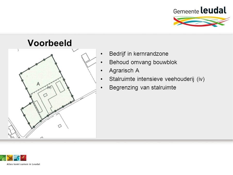 Voorbeeld Bedrijf in kernrandzone Behoud omvang bouwblok Agrarisch A Stalruimte intensieve veehouderij (iv) Begrenzing van stalruimte
