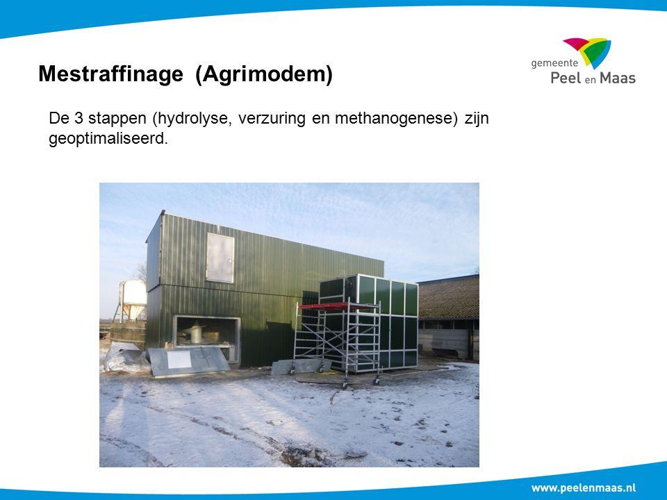 Mestraffinage (Agrimodem) De 3 stappen (hydrolyse, verzuring en methanogenese) zijn geoptimaliseerd.