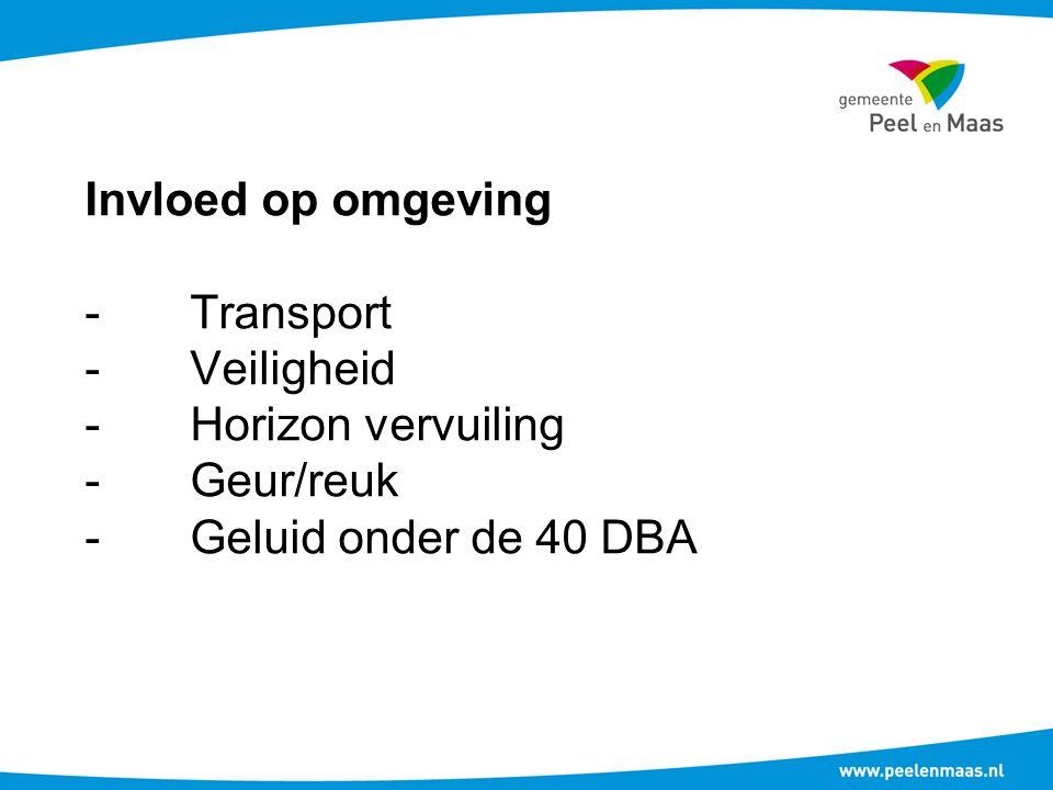 Invloed op omgeving -Transport -Veiligheid -Horizon vervuiling -Geur/reuk -Geluid onder de 40 DBA