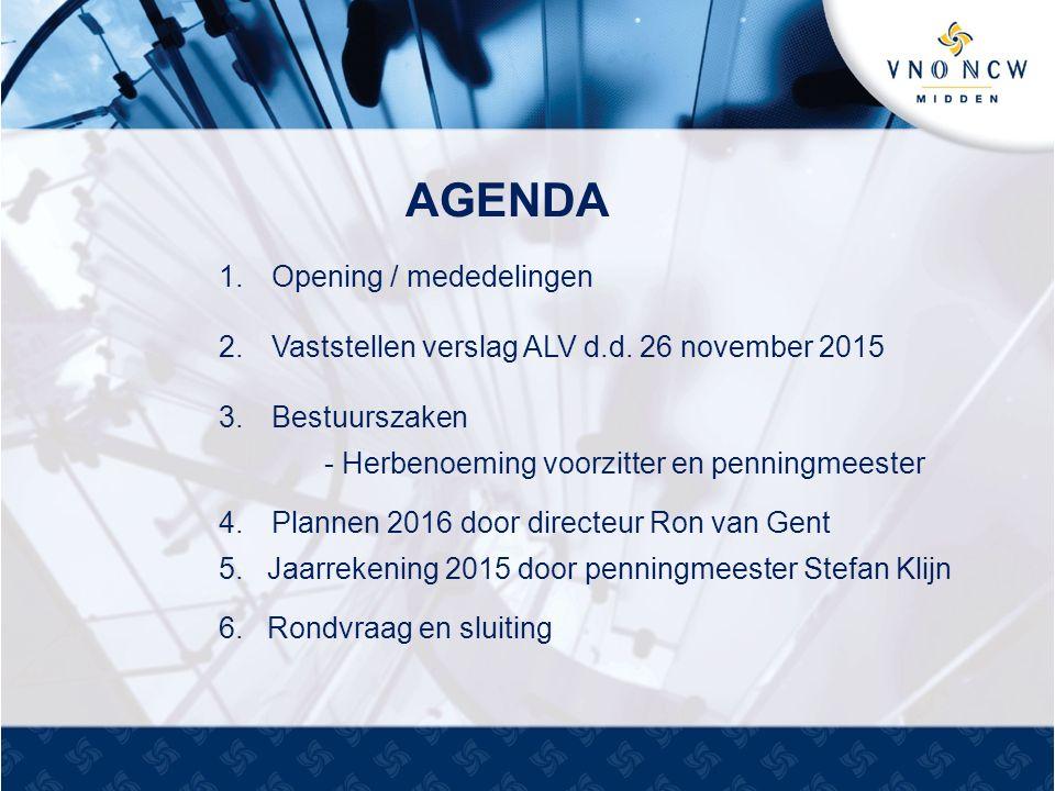 AGENDA 1.Opening / mededelingen 2.Vaststellen verslag ALV d.d.