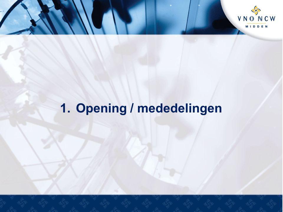 1.Opening / mededelingen