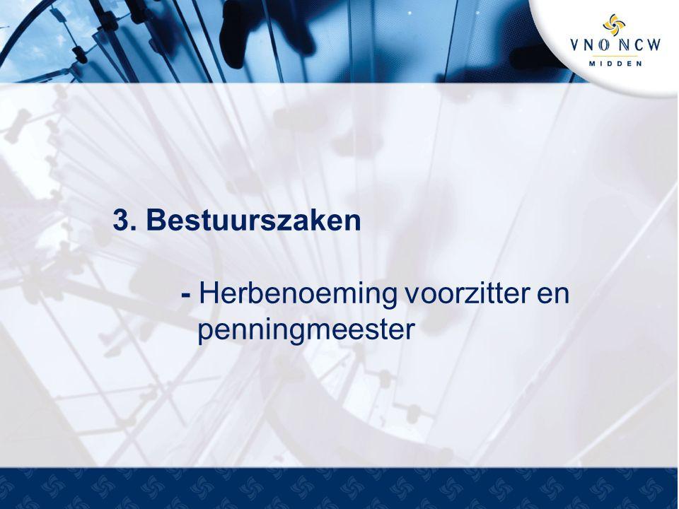 3. Bestuurszaken - Herbenoeming voorzitter en penningmeester