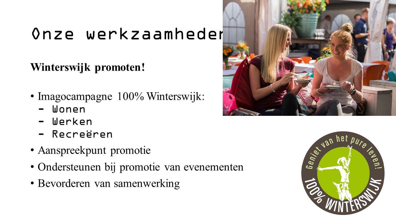 Nieuwe mediakanalen in 2016- 2017 100% Winterswijk website Winterswijk App Online marketing 100% Winterswijk magazine 2017-2018 Duitse 100% Winterswijk krant (2x)