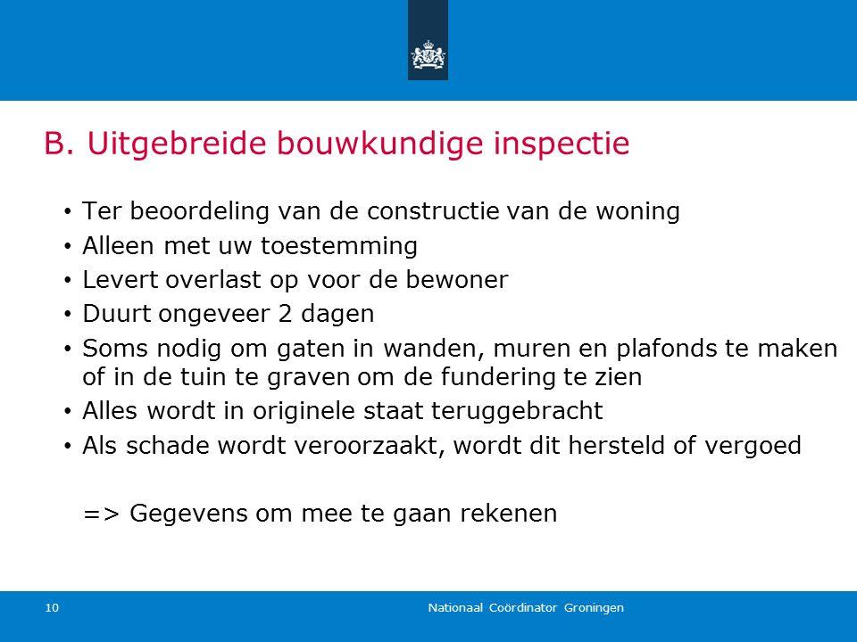Nationaal Coördinator Groningen 10 Ter beoordeling van de constructie van de woning Alleen met uw toestemming Levert overlast op voor de bewoner Duurt