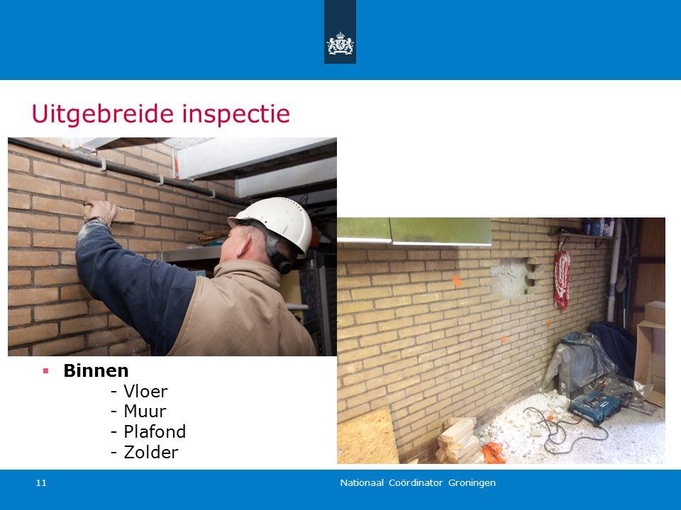 Nationaal Coördinator Groningen 11  Binnen - Vloer - Muur - Plafond - Zolder Uitgebreide inspectie