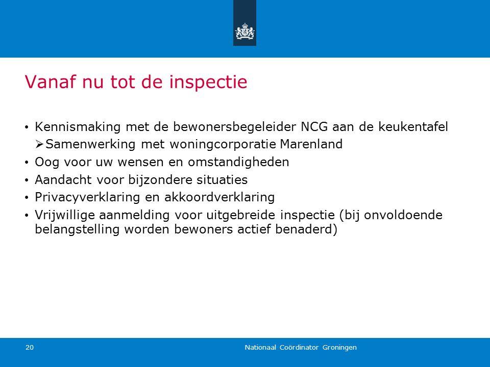 Nationaal Coördinator Groningen 20 Vanaf nu tot de inspectie Kennismaking met de bewonersbegeleider NCG aan de keukentafel  Samenwerking met woningco