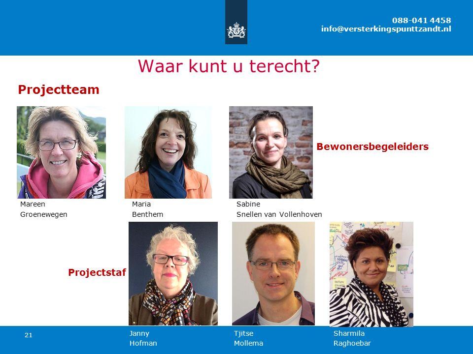 21 Projectteam Bewonersbegeleiders Mareen Maria Sabine Groenewegen Benthem Snellen van Vollenhoven Projectstaf Janny Tjitse Sharmila Hofman Mollema Ra