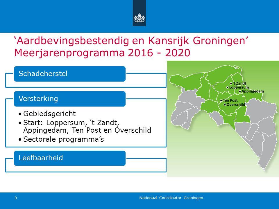 'Aardbevingsbestendig en Kansrijk Groningen' Meerjarenprogramma 2016 - 2020 Nationaal Coördinator Groningen 3 Schadeherstel Gebiedsgericht Start: Lopp