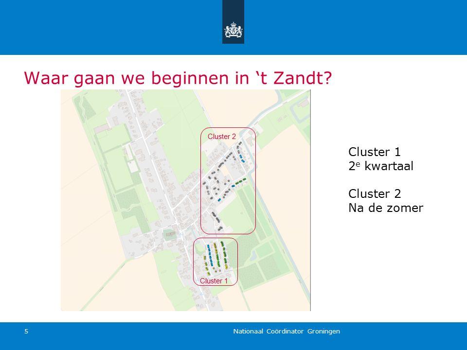 Nationaal Coördinator Groningen 5 Waar gaan we beginnen in 't Zandt? Cluster 1 Cluster 2 Cluster 1 2 e kwartaal Cluster 2 Na de zomer