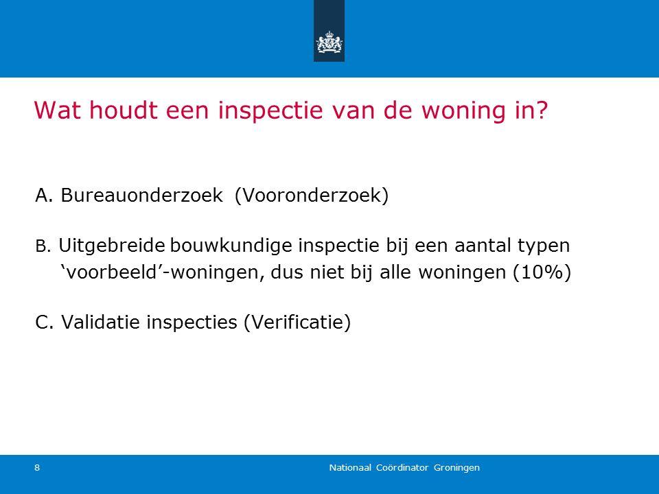 Nationaal Coördinator Groningen 8 A. Bureauonderzoek (Vooronderzoek) B. Uitgebreide bouwkundige inspectie bij een aantal typen 'voorbeeld'-woningen, d