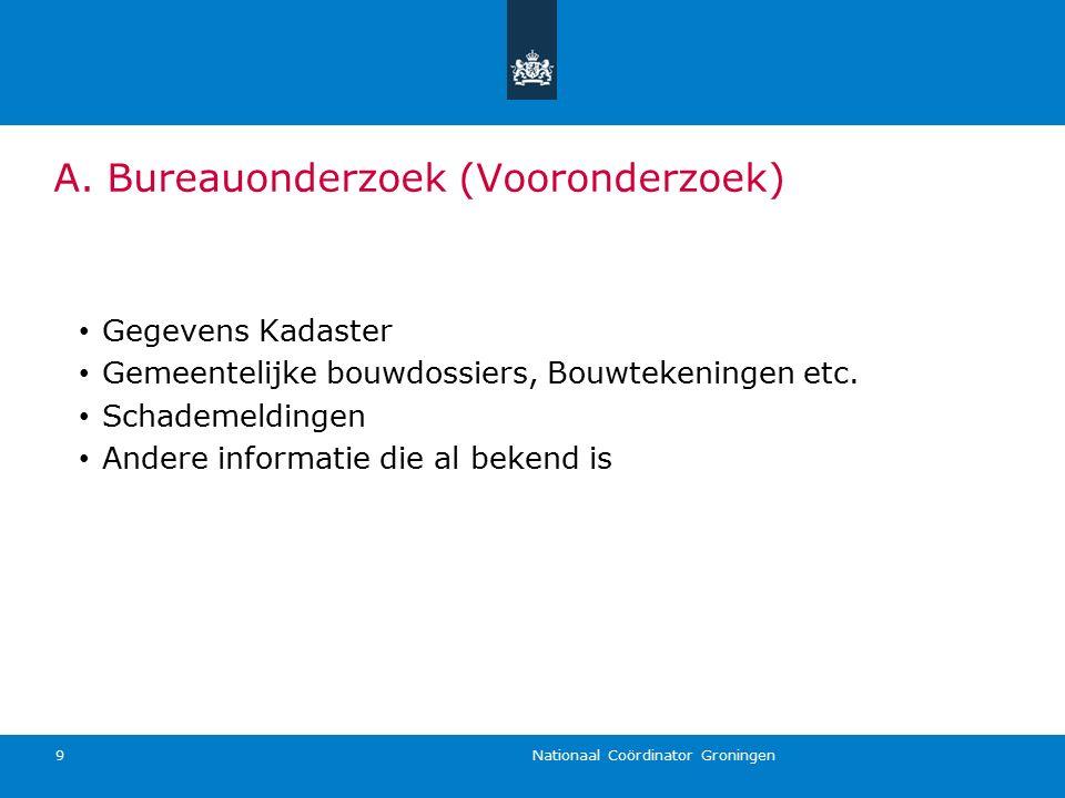 Nationaal Coördinator Groningen 9 Gegevens Kadaster Gemeentelijke bouwdossiers, Bouwtekeningen etc. Schademeldingen Andere informatie die al bekend is