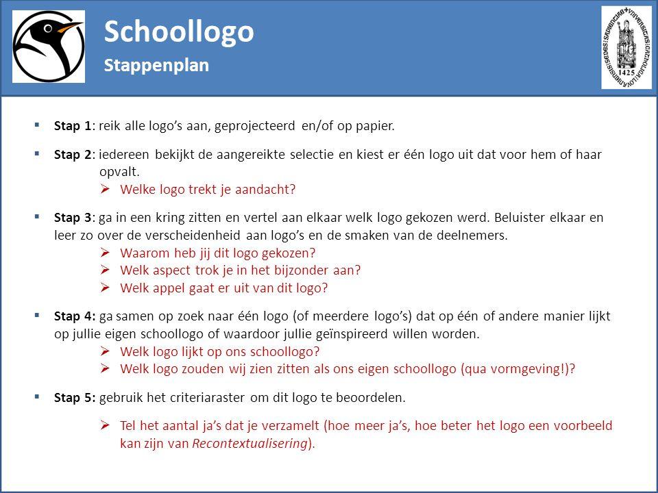Schoollogo Stappenplan  Stap 6: formuleer de uitdagingen die jullie op het spoor komen voor het ontwerp van een eigen (ver)nieuw(d), gerecontextualiseerd schoollogo.
