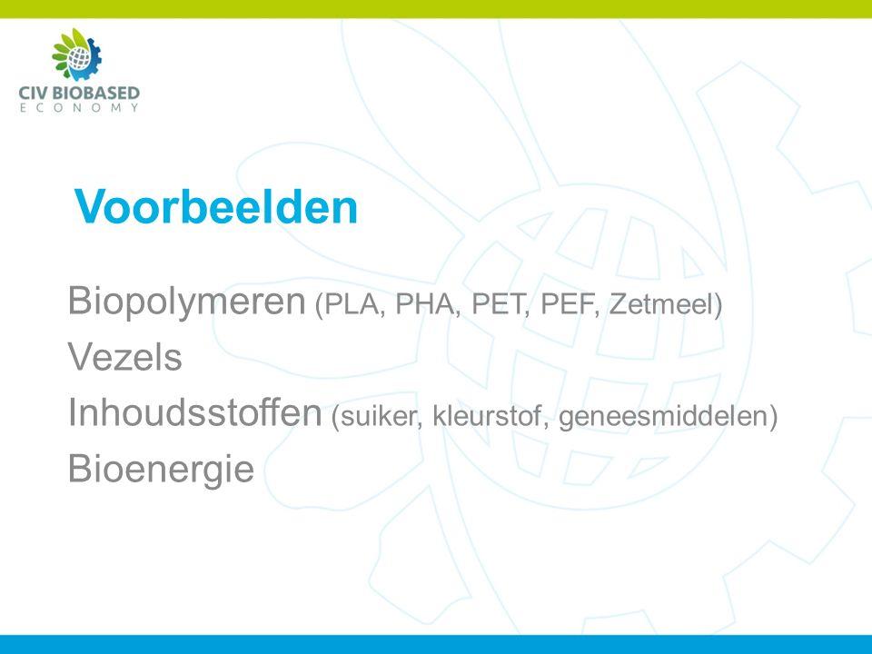 Voorbeelden Biopolymeren (PLA, PHA, PET, PEF, Zetmeel) Vezels Inhoudsstoffen (suiker, kleurstof, geneesmiddelen) Bioenergie