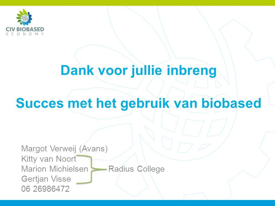 Dank voor jullie inbreng Succes met het gebruik van biobased Margot Verweij (Avans) Kitty van Noort Marion Michielsen Radius College Gertjan Visse 06 26986472