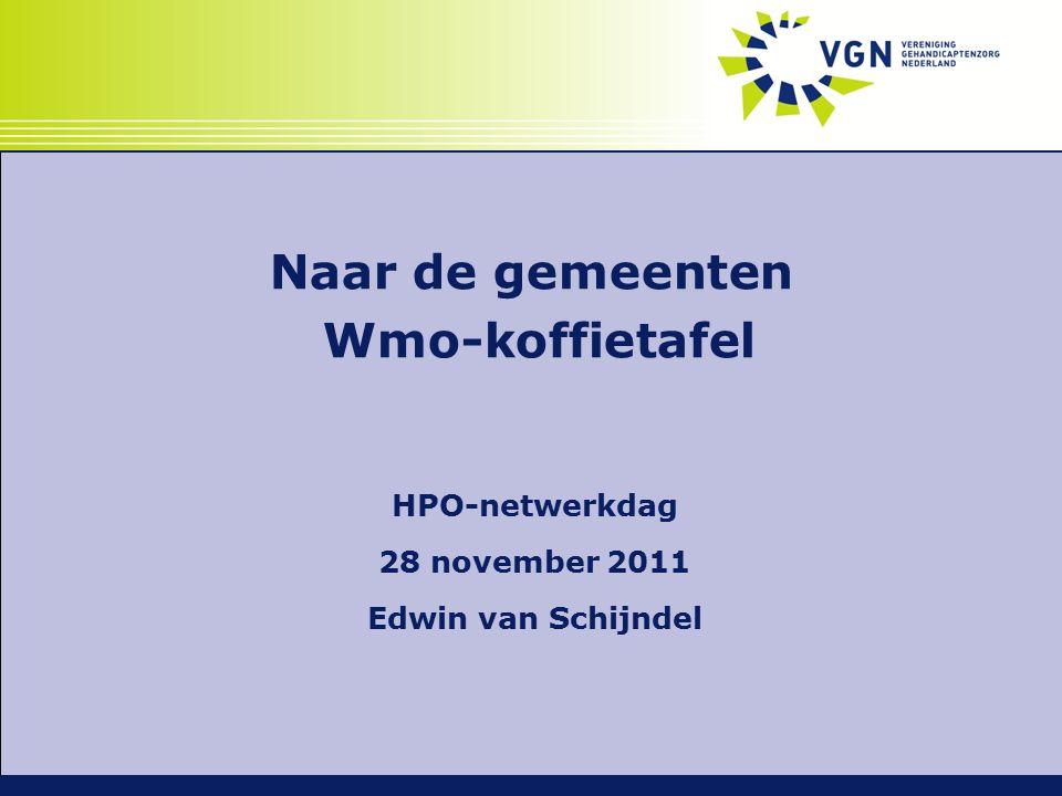 Naar de gemeenten Wmo-koffietafel HPO-netwerkdag 28 november 2011 Edwin van Schijndel