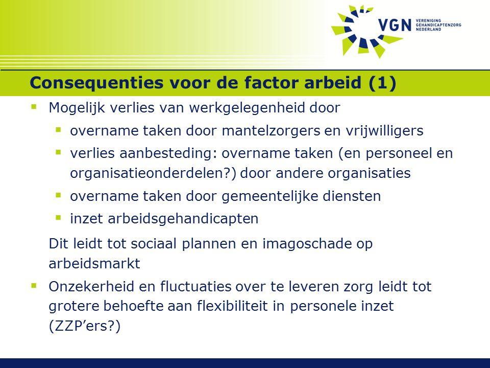 Consequenties voor de factor arbeid (1)  Mogelijk verlies van werkgelegenheid door  overname taken door mantelzorgers en vrijwilligers  verlies aan