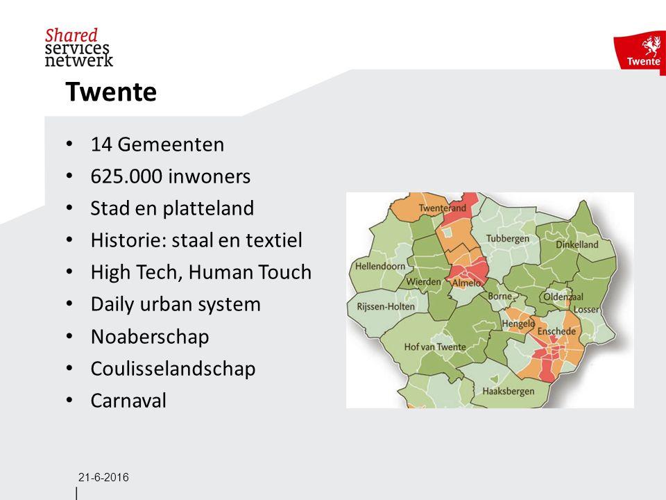 21-6-2016 Twente 14 Gemeenten 625.000 inwoners Stad en platteland Historie: staal en textiel High Tech, Human Touch Daily urban system Noaberschap Coulisselandschap Carnaval
