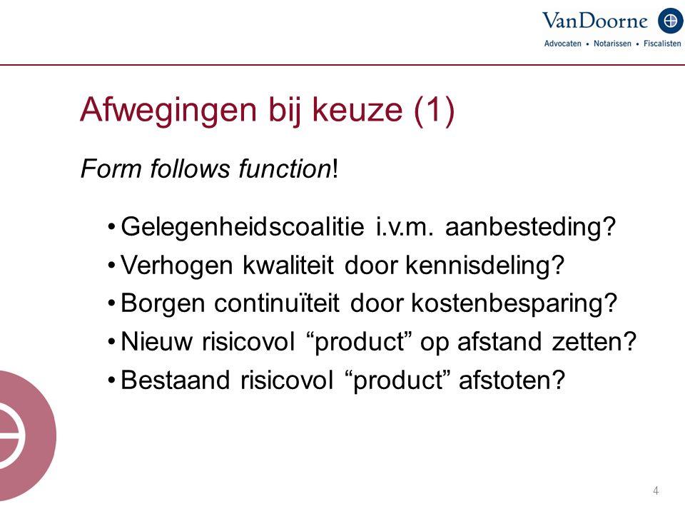 Afwegingen bij keuze (1) 4 Form follows function. Gelegenheidscoalitie i.v.m.