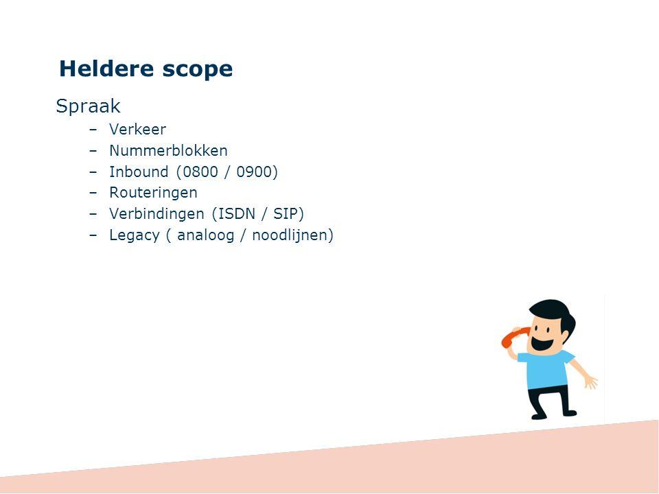 Heldere scope Spraak –Verkeer –Nummerblokken –Inbound (0800 / 0900) –Routeringen –Verbindingen (ISDN / SIP) –Legacy ( analoog / noodlijnen)