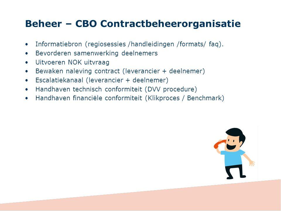 Beheer – CBO Contractbeheerorganisatie Informatiebron (regiosessies /handleidingen /formats/ faq).
