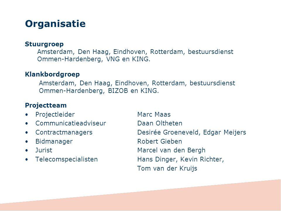 Organisatie Stuurgroep Amsterdam, Den Haag, Eindhoven, Rotterdam, bestuursdienst Ommen-Hardenberg, VNG en KING.
