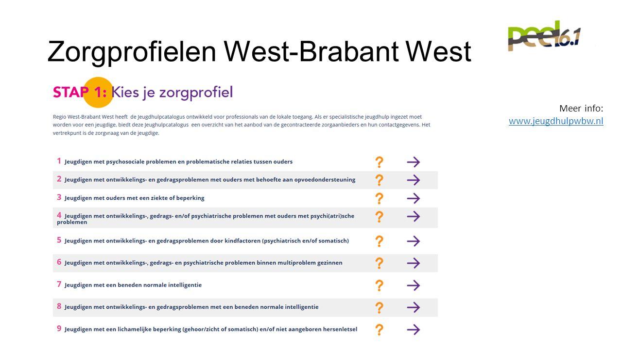 Zorgprofielen West-Brabant West Meer info: www.jeugdhulpwbw.nl