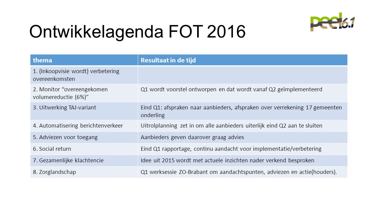 Ontwikkelagenda FOT 2016 themaResultaat in de tijd 1.