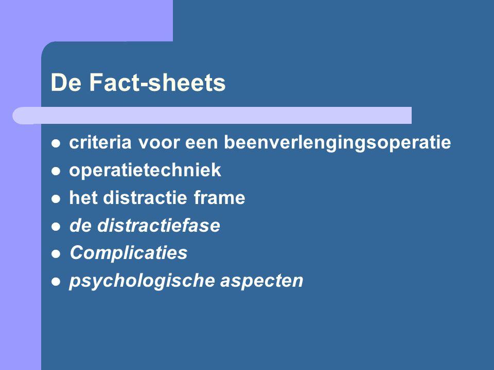 De Fact-sheets criteria voor een beenverlengingsoperatie operatietechniek het distractie frame de distractiefase Complicaties psychologische aspecten