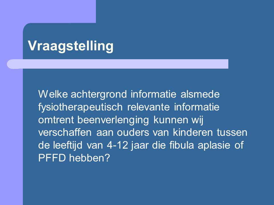 Subvragen Wanneer komt een kind met fibula aplasie of PFFD voor beenverlenging in aanmerking, en wanneer bevindt een kind zich in het risicogebied?