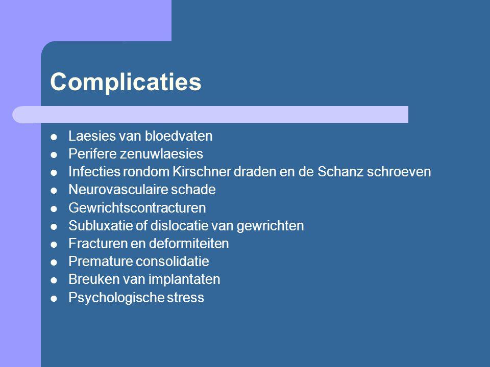 Complicaties Laesies van bloedvaten Perifere zenuwlaesies Infecties rondom Kirschner draden en de Schanz schroeven Neurovasculaire schade Gewrichtscon