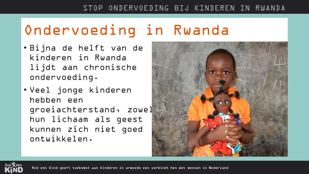 Ondervoeding in Rwanda Red een Kind geeft toekomst aan kinderen in armoede een verbindt hen met mensen in Nederland Bijna de helft van de kinderen in Rwanda lijdt aan chronische ondervoeding.