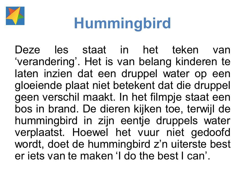 Hummingbird Deze les staat in het teken van 'verandering'. Het is van belang kinderen te laten inzien dat een druppel water op een gloeiende plaat nie