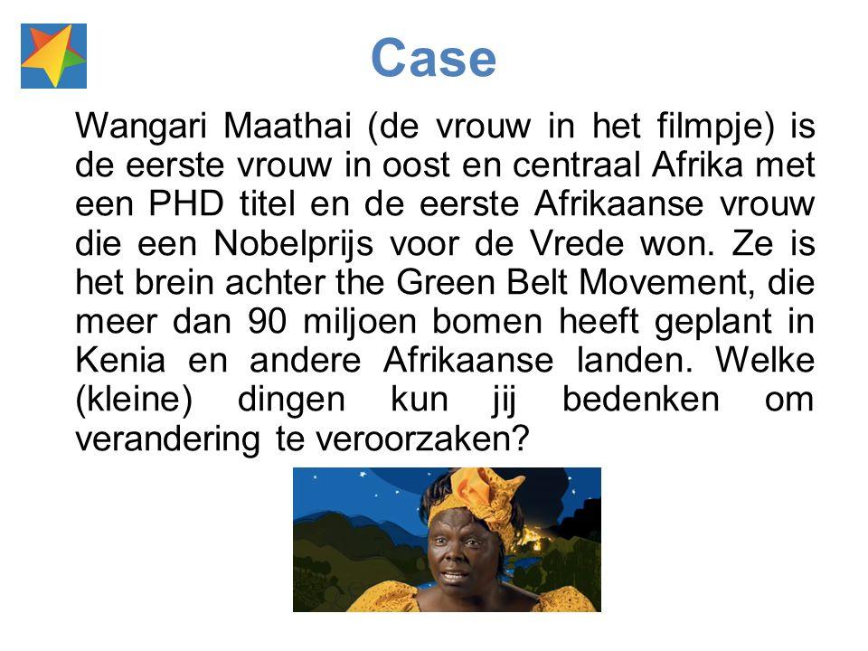 Wangari Maathai (de vrouw in het filmpje) is de eerste vrouw in oost en centraal Afrika met een PHD titel en de eerste Afrikaanse vrouw die een Nobelprijs voor de Vrede won.